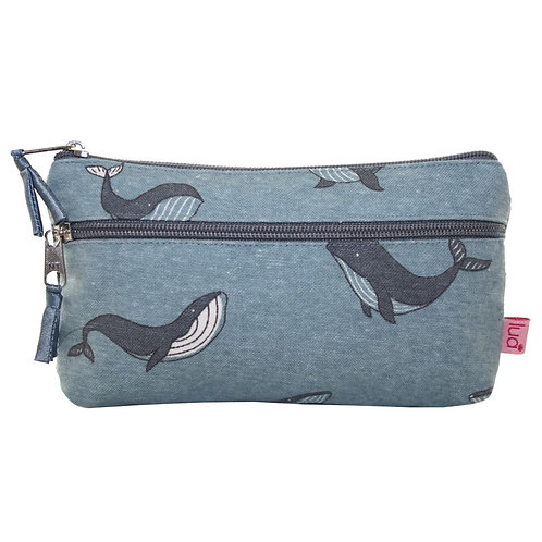 Large 2 Zipped Purse or Mobile Phone Purse- Whale