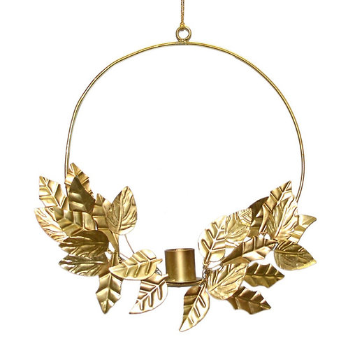Hanging Gold Ring Candle Holder