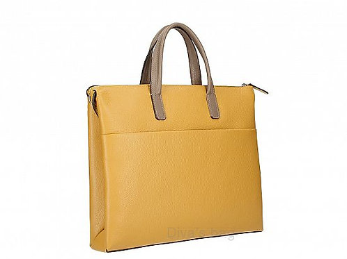 Leather Work Bag - Mustard