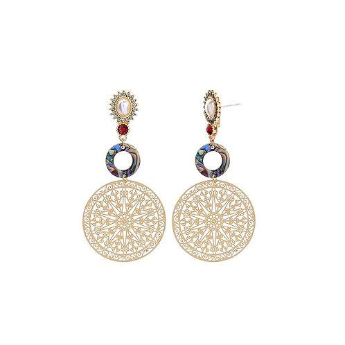 Delicate Disk Gem Earring - gold green