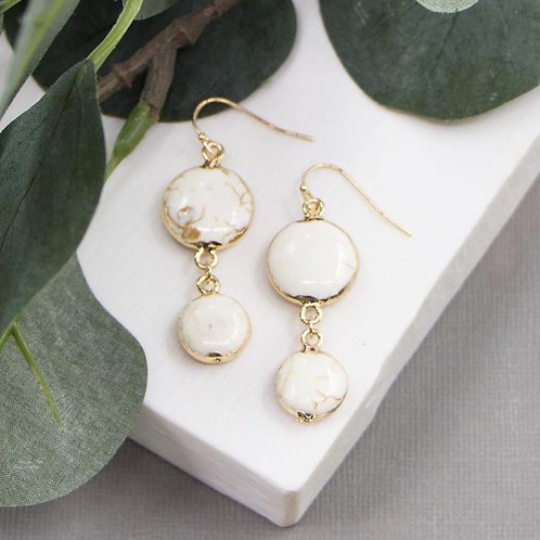 White turquoise dangly earrings