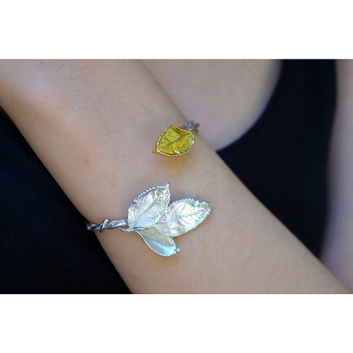 Rose Leaf Wrap Around Bracelet in Gold Plated and Sterling Silver