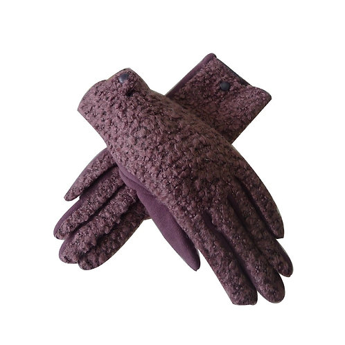 Amie teddy fur gloves - Mauve