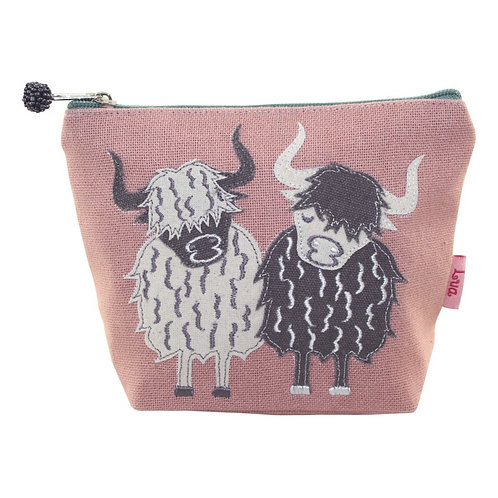 Highland Cow Applique Cosmetic Purse - Dusty Pink