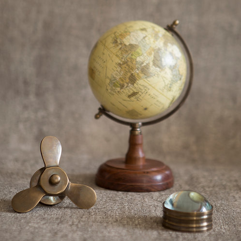 Vintage Style Globe with Wooden Base