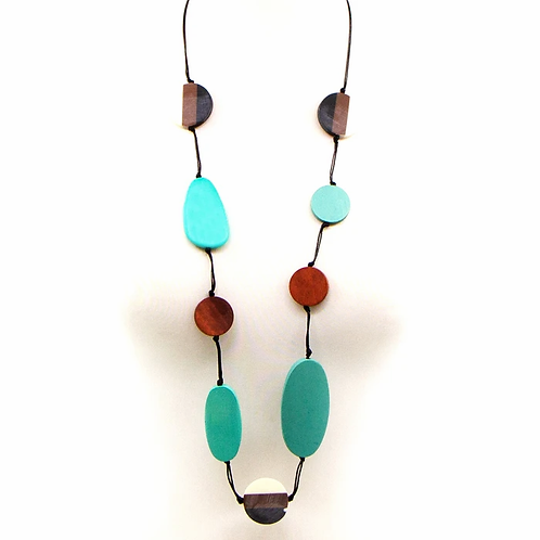 Oval wood beads and resin mix long necklace -Turq