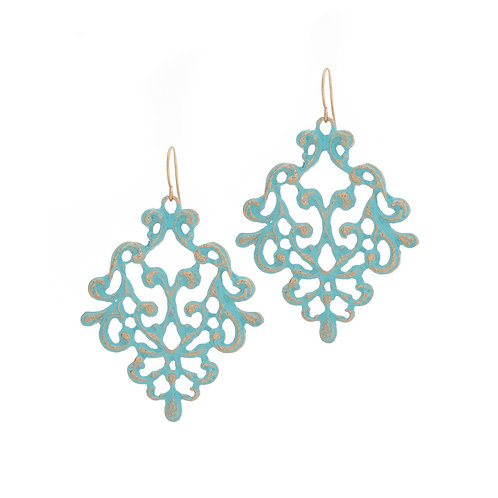 Small Lace Effect Drop Earrings - Blue