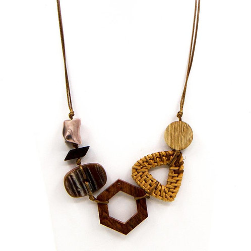 Adjustable short or mid length wood, rattan and resin necklace