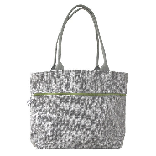 Tote Shoulder Bag - Pail Grey Herringbone