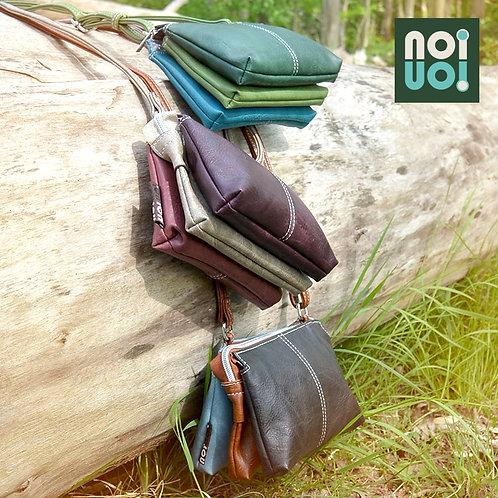 Blue and Brown Shoulder Bag Vegan Leather