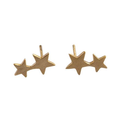 Twin Stars Stud Earrings 14k Gold Plated Sterling Silver