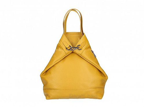 Foldover Italian Leather Backpack - Mustard