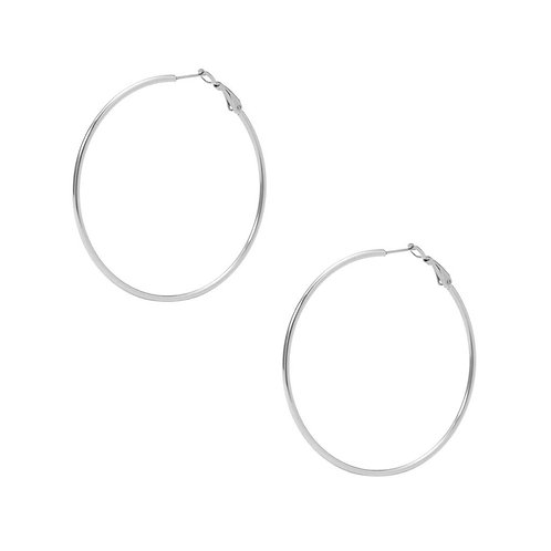 Large Simple Hoop Earring - Steel