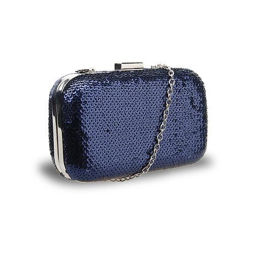 Sequin Box Clutch -Navy-Blue