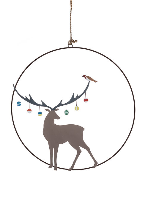 Metal Bauble Stag Wreath