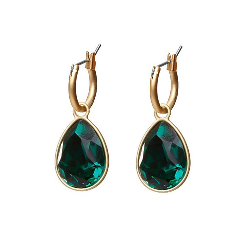 Emerald gold plated simple stone drop earrings