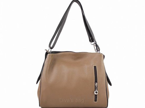 Compartment Italian Leather Shoulder Bag - Taupe & Dark Brown
