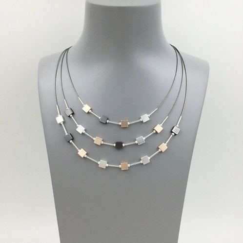Triple Strand Wire Necklace with Cube Elements