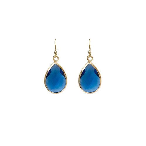 Teardrop gem earring -  Blue