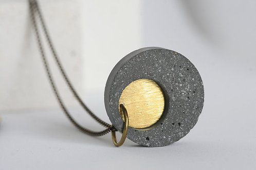Concrete disk necklace with brass loose inlay circle