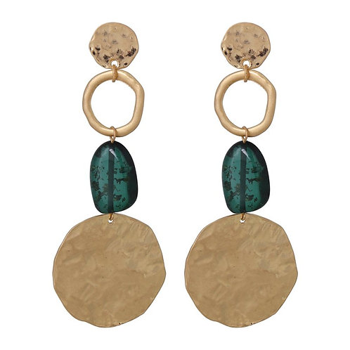 Teal and brushed gold circles drop earring with bead