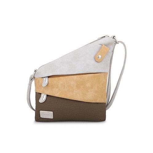 Beige & Browns Two Zipped Triangle Pocket Crossbody