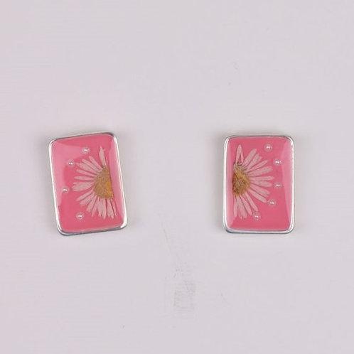 Rectangle Flower Resin Stud - Pink