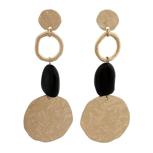 Black and brushed gold circles drop earring with bead