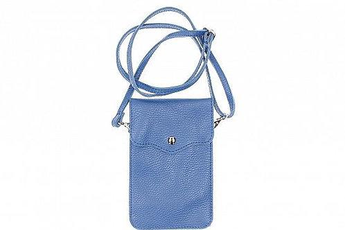 Crossbody Phone Purse - Blue Italian Leather