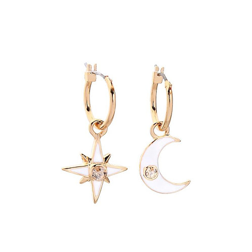 Star and Moon Drop Hoop Enamel Earrings