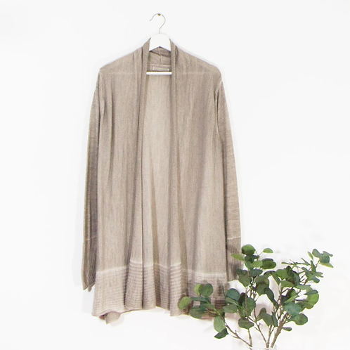 Vintage wash long cardi with horizontal detail on hem - Taupe