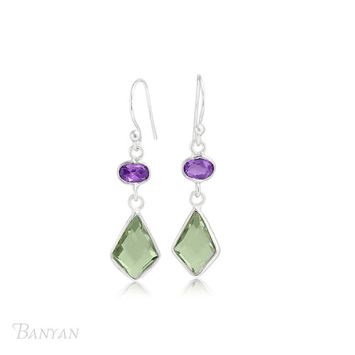 Purple and Green Amethyst Sterling Silver Earrings