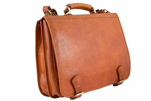 Buckle Italian Leather Messenger Bag - Cognac