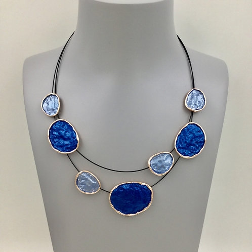 Double Strand Wire Necklace with Blue Disks