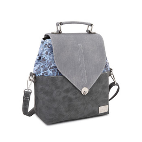 Blue Backpack with Leaf Fabric Details