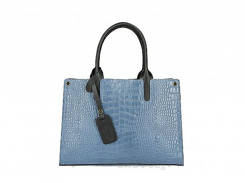 Italian Leather Croc Effect Handbag -  Blue