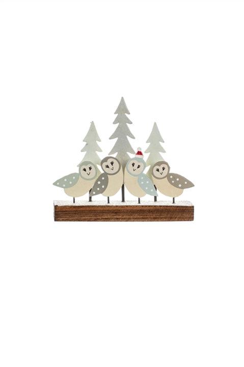 Christmas Barn Owls on a Block