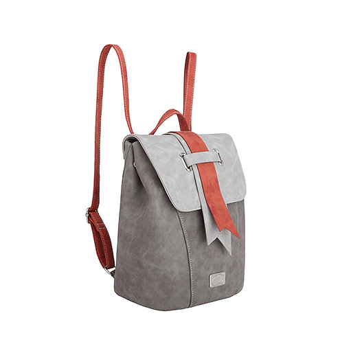 Red and Grey Back Pack Vegan Leather