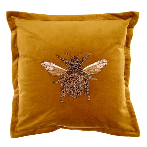 Voyage Velvet Bee Cushion -mustard