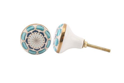 Blue & Gold Ceramic Drawer Pull