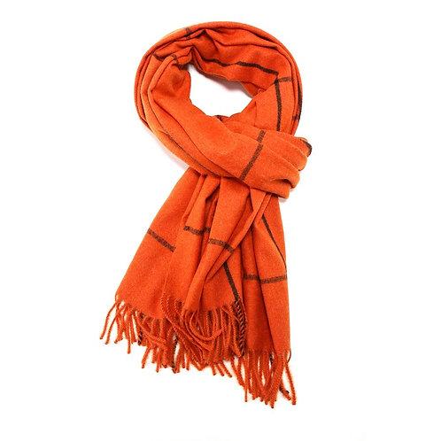 Super soft line print scarf - Orange