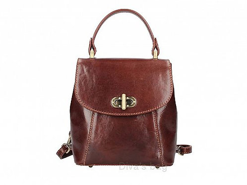 Small Structured Backpack - Brown Leather