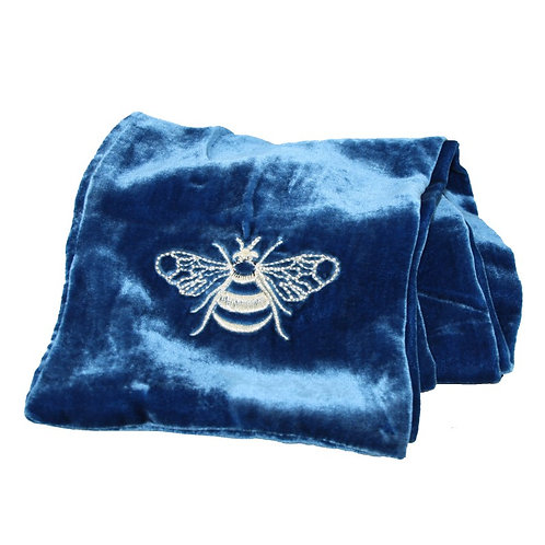 Embroidered Velvet Bee Scarf - Blue