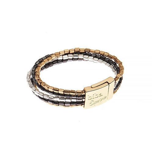 Metal square beaded multi strand bracelet