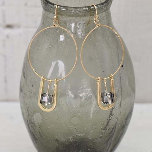 Gold hoop earring with stone drop element