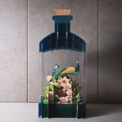 Message in a bottle card - Peacock