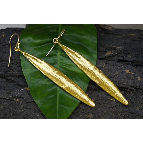 Long Olive Leaf Drop Earrings in Gold Plated Sterling Silver