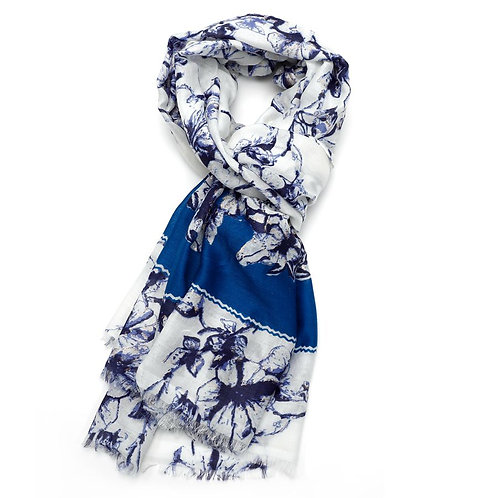 Ink Flower Scarf -Blue