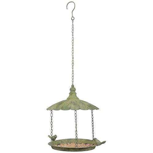 Green Aged Metal Hanging Birdfeeder