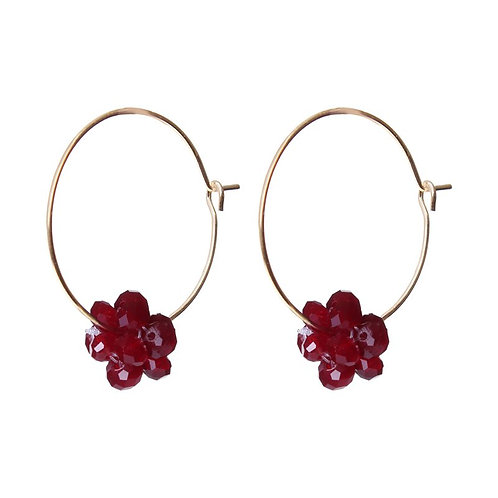 Red simple gold plated hoop earring with black berry